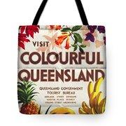 Visit Colorful Queensland - Vintage Poster Folded Tote Bag