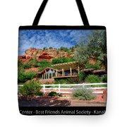 Visitor Center Best Friends Animal Sanctuary Angel Canyon Knob Utah 02 Text Black Tote Bag