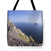 Visitors Admire Celtic Monastery, Skellig Michael, Looking To Little Skellig, County Kerry, Ireland  Tote Bag