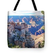 Visitors Dwarfed By Grand Canyon Vista Tote Bag