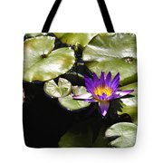 Vivid Purple Water Lilly Tote Bag