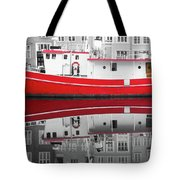 Vivid Rich Red Boat Tote Bag