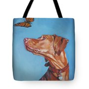Vizsla And The Butterfly Tote Bag