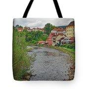 Vltava River As It Runs Slowly Through Cesky Krumlov In The Czech Republic Tote Bag