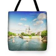 Notre Dame And River Seine Tote Bag