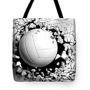 Volleyball Ball Breaking Forcibly Through A White Wall. 3d Illustration. Tote Bag