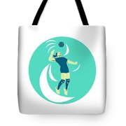 Volleyball Player Spiking High Circle Retro Tote Bag