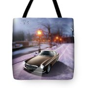 Volvo P1800 Snow Scene Tote Bag