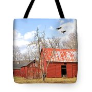 Vultures Over Barn Tote Bag