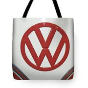 Vw Emblem In Red Tote Bag