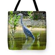 Wading Blue Heron Tote Bag