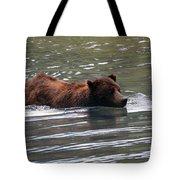 Wading Brown Bear Tote Bag
