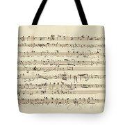 Wagner, Richard Autograph Working Drafts For Act I Of Der Fliegende Hollander Tote Bag