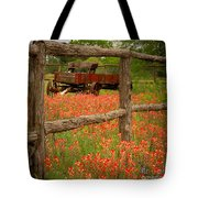 Wagon In Paintbrush - Texas Wildflowers Wagon Fence Landscape Flowers Tote Bag by Jon Holiday