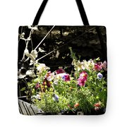 Wagon Wheel And Flowers Tote Bag