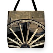 Wagon Wheel - Old West Trail N832 Sepia Tote Bag
