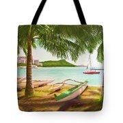 Waikiki Beach Outrigger Canoes 344 Tote Bag