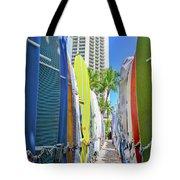 Waikiki Surfboards Tote Bag