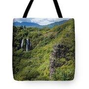 Wailua Falls And Tropical Plants Tote Bag