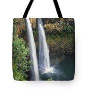 Wailua Falls Surrounded By Foliag Tote Bag
