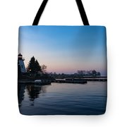 Waiting For Sunrise - Blue Hour At The Lighthouse Infused With Soft Pink Tote Bag