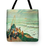 Waiting For The Return Of The Fishermen In Brittany Tote Bag by Henry Moret