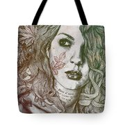 Wake - Autumn - Street Art Woman With Maple Leaves Tattoo Tote Bag
