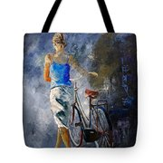 Waking Aside Her Bike 68 Tote Bag