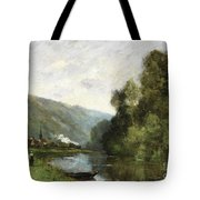 Walkers Along A River Tote Bag