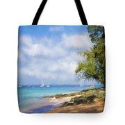 Walking Along The Beach, Holetown, Barbados Tote Bag