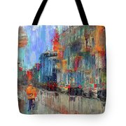 Walking Down Street In Color Splash Tote Bag