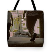 Walking In Construction Zone Tote Bag