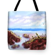 Walking On The Beach On A Rainy Day Tote Bag