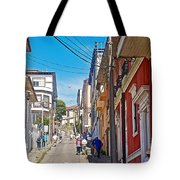 Walking Up Steep Streets In Hilly Valparaiso-chile Tote Bag