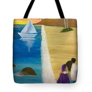 Walking With You On Beach Tote Bag