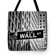 Wall St Sign New York In Black And White Tote Bag