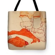 Wally In Red Blouse With Raised Knees Tote Bag