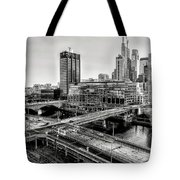 Walnut Street City View In Black And White Tote Bag