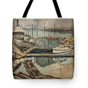 Walter  E  Schofield 1867-1944 Dock With Shed Tote Bag