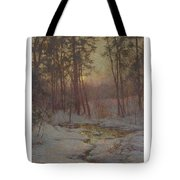 Walter Launt Palmer 1854-1932 Winter Stream At Sunset Tote Bag