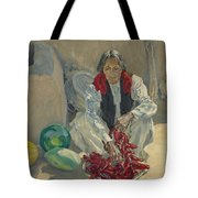 Walter Ufer 1876-1936 Stringing Chili Peppers Tote Bag