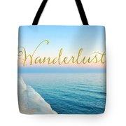 Wanderlust, Santorini Greece Ocean Coastal Sentiment Art Tote Bag