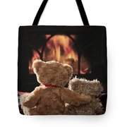 Warm And Cosy Teddies By The Fireside Tote Bag