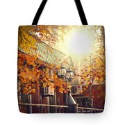 Warm Autumn City. Warm Colors And A Large Film Grain. Tote Bag