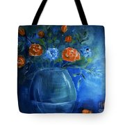 Warm Blue Floral Embrace Painting Tote Bag