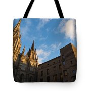 Warm Sun Glow On The Cathedral Of Barcelona Tote Bag