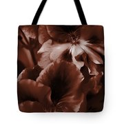 Warm Tone Monochrome Floral Art Tote Bag