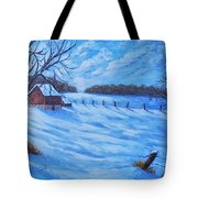 Warm Winter Barn Tote Bag