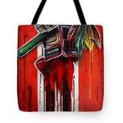 Warrior Glove On Red Tote Bag