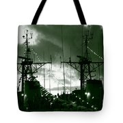 Warships At Twilight Tote Bag